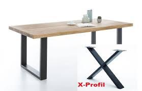 Esstisch Tim 180 Wildeiche Massiv X Profil Schwarz E 23184