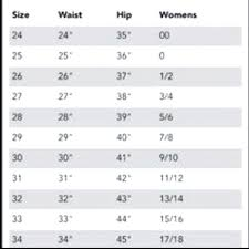 33 Systematic Womans Jeans Size Chart