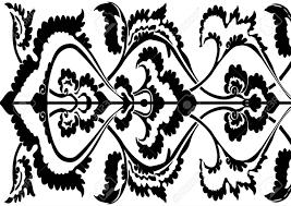 Siergrens Bloemensilhouet Horizontale Bloemenpatroon Geïsoleerde