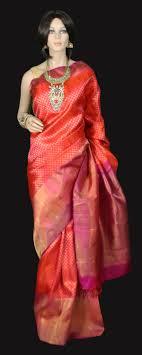 Latest Design Kanjivaram Sarees Orange Kanjeevaram Bridal Silk Saree With Zari Buttas And