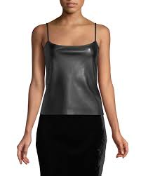 theory bedford faux leather tank top black