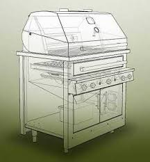 graphic rendering see through drawing of a large gas grill showing the inside