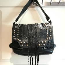 warehouse black studded leather bag