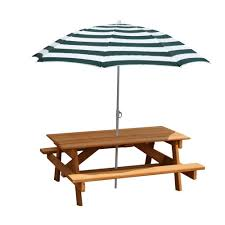 Kids Picnic Folding Table And Bench With Umbrella  Outdoor Childrens Outdoor Furniture With Umbrella