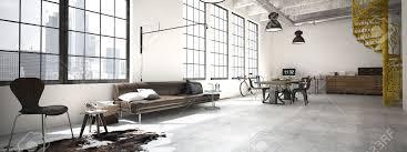 modern loft furniture. Spiral Stairs And Living Room In Modern Loft.3d Rendering Stock Photo - 47185907 Loft Furniture N