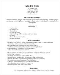 Casting Director Resume 1 Casting Assistant Resume Templates Try Them Now
