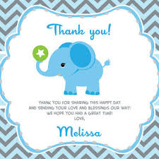 Baby Boy Thank You Cards Boy Elephant Thank You Card With From Aoprintablesforkids On Etsy