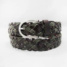 mens woven belts composed with leather and wax cord 35 15159b