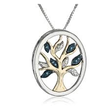 xpy sterling silver and 14k yellow gold diamond tree of life pendant necklace 18