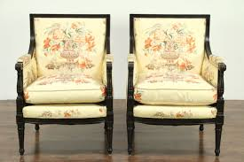 SOLD Pair of Traditional Vintage Chairs Custom Chinese Silk