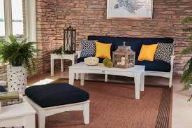 appealing terrace design using white frame adirondack chair cushions plus navy cushions seat and ottoman
