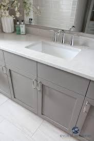 cost to install bathroom vanity faucet. bathroom vanity painted metropolis benjamin moore gray. caesarstone bianco drift greige quartz countertop, moen cost to install faucet