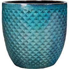 turquoise ceramic hexham garden planter