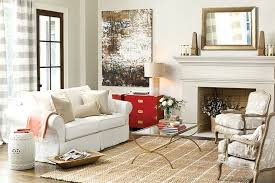 red campaign chest in a neutral living room