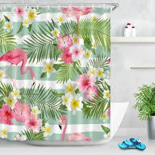 bath tropical flower flamingos shower