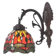 Bieye Tiffany Style Stained Glass Dragonfly Wall Sconce Lamp Fixture With 6 Inches Handmade Lamp Shade Red Single Downlight