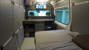 mercedes sprinter custom conversion rv diy bed kitchen cabinets storage insulation power