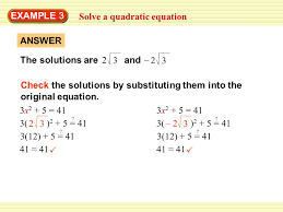 10 solve a quadratic equation