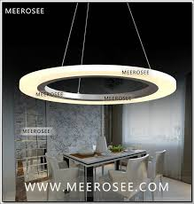 meerosee led ring chandelier light fixture smd 5050 round acrylic ring chandelier lighting restaurant hanging lamp interior decoration md5057 2 rings led