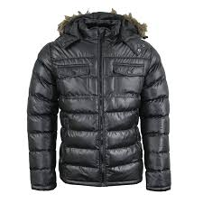 details about mens brave soul faux fur hooded winter puffer jacket in black aw18