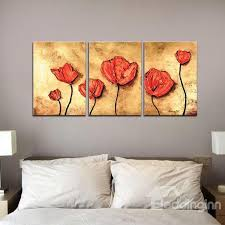 wonderful oil painting red flowers 3 panel framed wall prints  on 3 panel wall art flowers with wonderful oil painting red flowers 3 panel framed wall prints