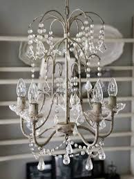 Chic Antique Chandelier With Glass Holders And 5 Branches Antique White