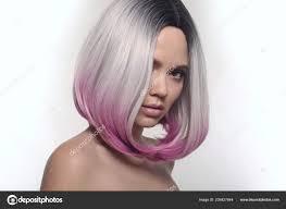 Krátký účes Bob Ombre Krásné Vlasy Barvení žena Módní účesy Stock