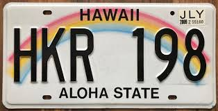 hawaii aloha state authentic retro used genuine rainbow license plate hkr 198 ebay