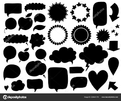 Vector Collection Black Speech Bubbles Labels Shapes Isolated White
