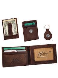 dynasty leather front pocket wallet key fob gift set