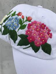 Hand Embroidered Hat, White Baseball Hat, Custom hat, Flowers ...