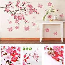 Peach Bedroom Decorating Bathroom Flower Butterfly Wall Stickers Decal Removable Peach Wall