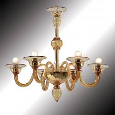nane 6 lights amber murano glass chandelier