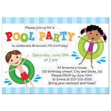 kids birthday party invitations pool birthday party invitation for kids boy and girl on inflatables