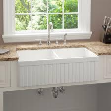 kitchen sink fluted a 33 inch baldwin double bowl fireclay farmhouse kitchen sink