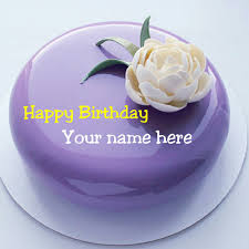 Print Name On Birthday Cake With Flower For Friend