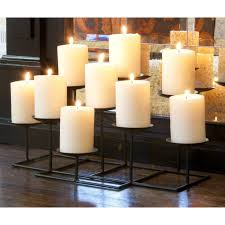 campbell fireplace candelabra in black made of metal with nine white candle for home decoration ideas