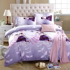 new purple print flower lovely girl duvet cover soft polyester bedding sets bed sheet pillowcase textile