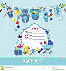 Baby Boy Announcements Templates New Born Baby Boy Card Shower Invitation Template Stock Vector