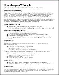 Housekeeping Resume Samples Housekeeper Sample Housekeeping Resume