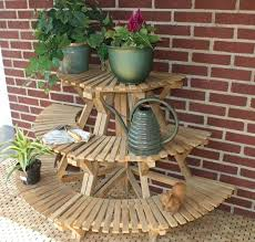outdoor plant table stands tiered uk wood