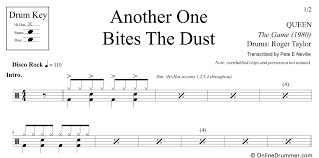 Drum Tuning Notes Chart Another One Bites The Dust Queen Drum Sheet Music