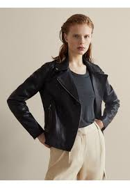 nappa leather jacket black massimo dutti