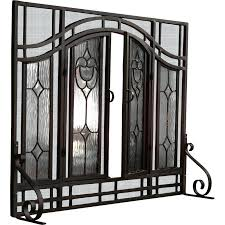 beveled glass fireplace screen victorian