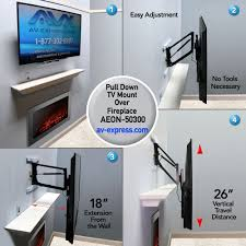 V Pull Down TV Mount For Fireplace  Full Motion Aeon 50300 For TVu0027s  Weighing Between 1060 Lbs Down Technology Easy Vertical Adjustment