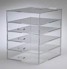 clear acrylic cosmetic makeup organizer with 4 drawers