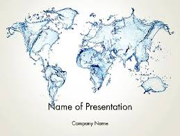 World Map Power Point Blue Water Splash World Map Powerpoint Template Backgrounds 13051