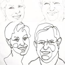 Sketches and sculptures wire art portrait sculpture drawing