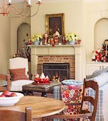 living room decorations in room hang white socks colorful garland on mantel brown wooden