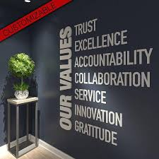 wall art for office. Our Values Office Wall Art Decor 3D PVC Typography For